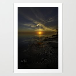 Low Tide Colington Sunset Art Print