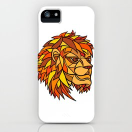 Male Lion Head Mosaic iPhone Case