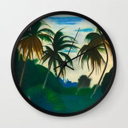 Tropical Scene with Palms and Flowers by Joseph Stella Wall Clock