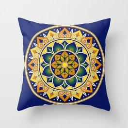 Italian Tile Pattern – Peacock motifs majolica from Deruta Throw Pillow