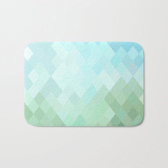 Shades of  Blue Diamonds Abstract Bath Mat