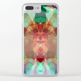 Modern lime green red abstract kaleidoscope pattern Clear iPhone Case