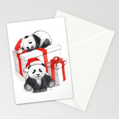 Christmas-Panda's babies g144 Stationery Cards