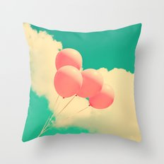 Happy Pink Balloons on retro blue sky  Throw Pillow