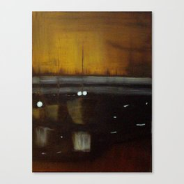 Nocturne in Black, Gold and Silver - Woodley Island Marina Canvas Print