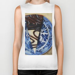 Brownie Cheesecake on Blue Willow Plate Biker Tank