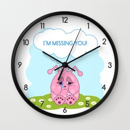 Cute pink monster is missing you Wall Clock