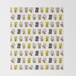 Lucky Cat / Maneki Neko Throw Blanket