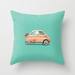 Dachshund driving her Isetta Throw Pillow