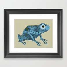 Little blue frog Framed Art Print