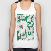 peonies Tank Tops featuring green peonies by Marcella Wylie