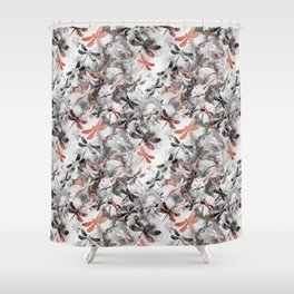 Dragonfly Lullaby in Marble and Rose Gold Shower Curtain