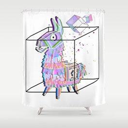 Minimal fortnitellama Shower Curtain