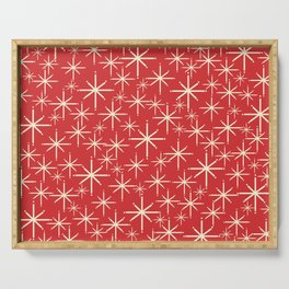 Atomic Age Christmas Stars - Midcentury Modern Pattern in Cream and Retro Xmas Red Serving Tray