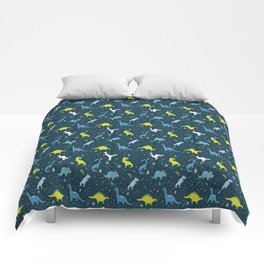 Space Dinosaurs in Bright Green and Blue Comforters