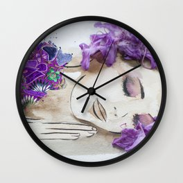 floral bugambilia woman Wall Clock
