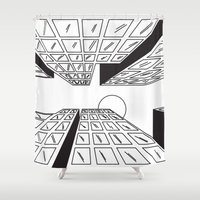 buildings Shower Curtains featuring Buildings by Koral Feria
