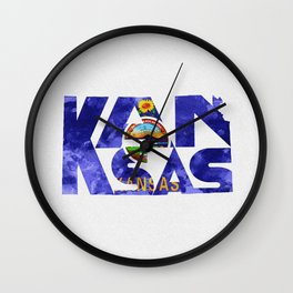 Kansas Typographic Flag Map Art Wall Clock