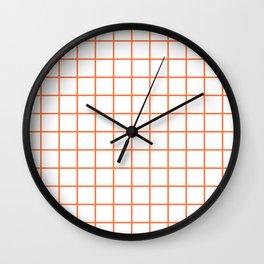 Grid Pattern Orange Wall Clock