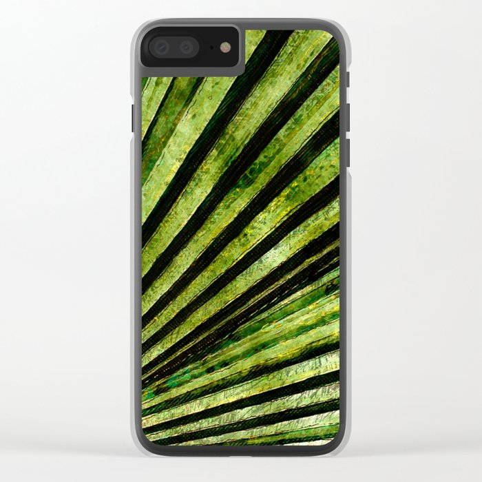 Green Palm Tree Frond Clear iPhone Case