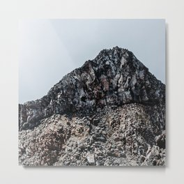 Cracked Mountain Peak in the Clouds Metal Print