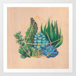 Geometric Terrarium 1 Acrylic on Wood Painting Art Print