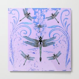 DELICATE BLUE & LILAC DRAGONFLIES ABSTRACT ART Metal Print
