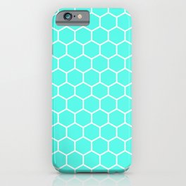 Honeycomb (White & Turquoise Pattern) iPhone Case