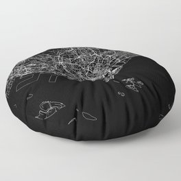 Singapore Black Map Floor Pillow