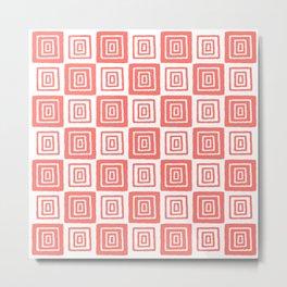 Mid Century Modern Geometric Checker 821 Coral Metal Print