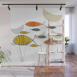 Mid Century Modern Fish, Marine Life Wall Mural