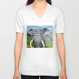 Elephant, Male Elephant Painting Unisex V-Neck