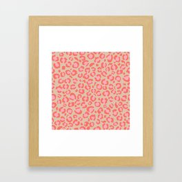 Leopard Print   Living Coral Pink with Tan Background   girly pastel   Cheetah Framed Art Print