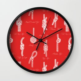 Nautical Knots (Red and White) Wall Clock