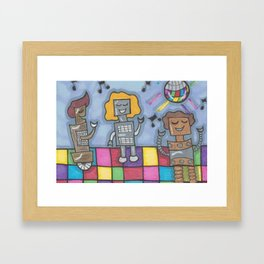 Disco Bots Framed Art Print