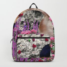 Chi Chi in Purple, Red, Pink, White Flowers, Chihuahua Puppy Dog Backpack