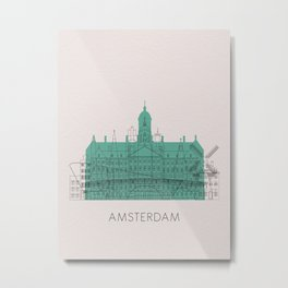 Amsterdam Landmarks Poster Metal Print