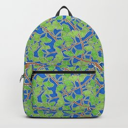 Vibrant Green Ginkgo Leaves in Dancing Branches Backpack