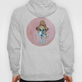 A Dog in Pink Portrait Hoody