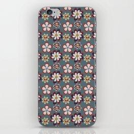vintage pink teal gray boho floral pattern iPhone Skin