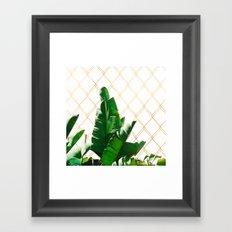Leaf & golden lines Framed Art Print