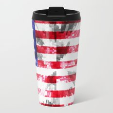 American Flag Extrude Metal Travel Mug