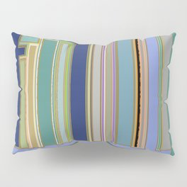 Industrial Blue Green Gray Navy Striped Geometric graphic design Pillow Sham