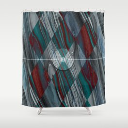 Geometric Abstract - Modern Abstract - Geometric Pattern - Pattern Design - Blue, Grey - Wood Grains Shower Curtain