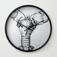 lobster Wall Clocks featuring Lobster by Isabel Moffly