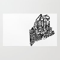 maine Area & Throw Rugs featuring Typographic Maine by CAPow!
