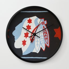 Chicago hockey flag Wall Clock