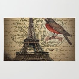I love Paris Shabby chic Robin French Scripts Jubilee Crown Vintage Paris Eiffel Tower Rug