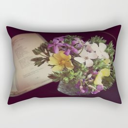 Reading Emily Dickinson with Flowers Rectangular Pillow