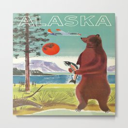 Alaska Vintage Travel Poster Metal Print